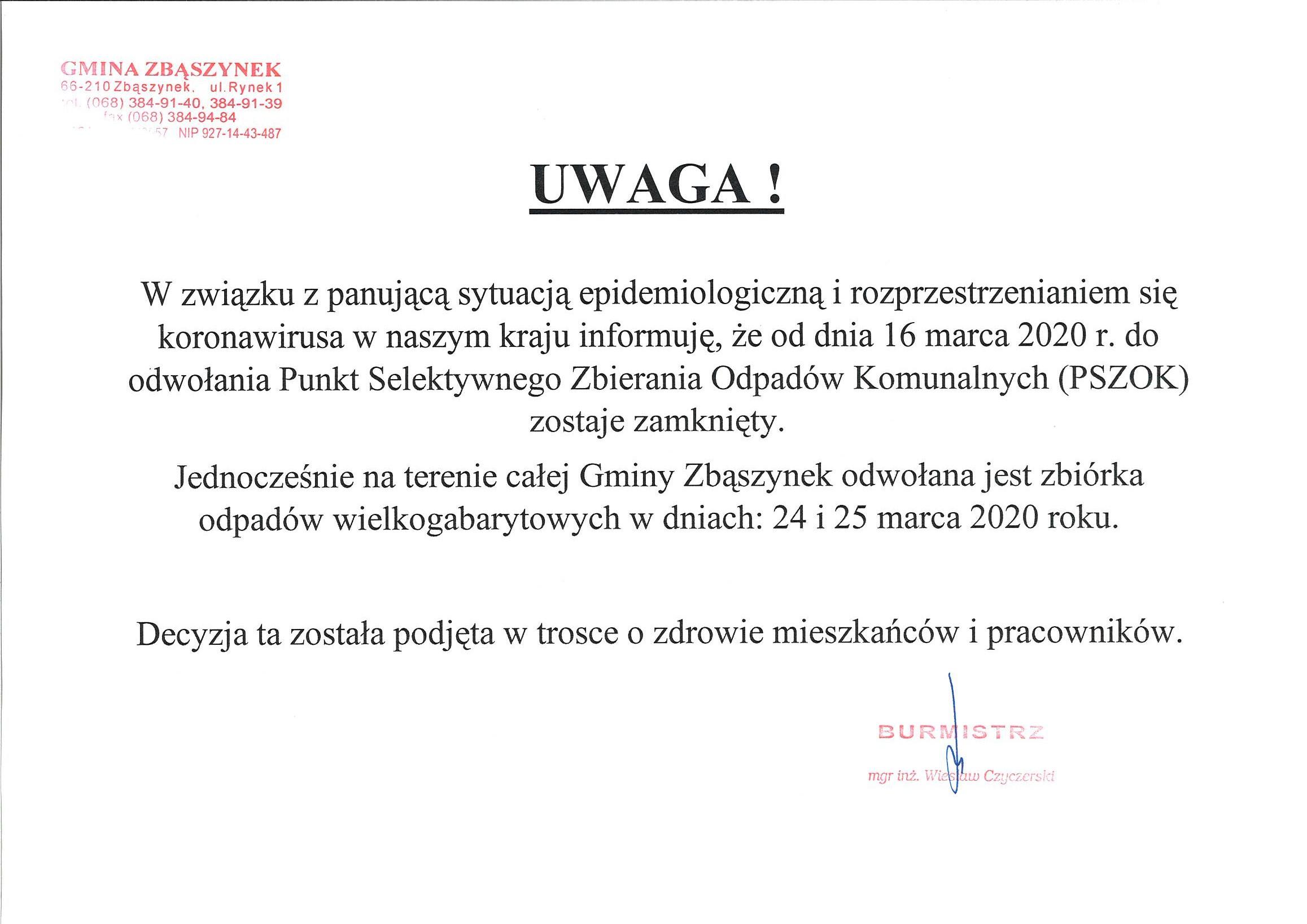 Ilustracja do informacji: PSZOK zostaje zamknięty!